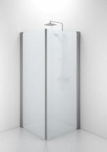 Ifö Space rett dør m/håndtaksprofil 65 cm, Frosset glass/Alu profil - Kun 1 dør