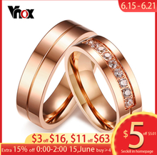 Vnox Trendy Wedding Bands Rings for Women / Men Love Rose Gold-color Stainless Steel CZ Promise Jewelry Personalized alliance