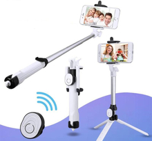Selfie Mobilstativ / Selfiepinne Med Bluetooth Fjärrkontroll Vit