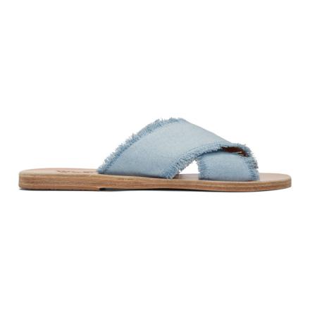Ancient Greek Sandals Blue Denim Thais Sandals