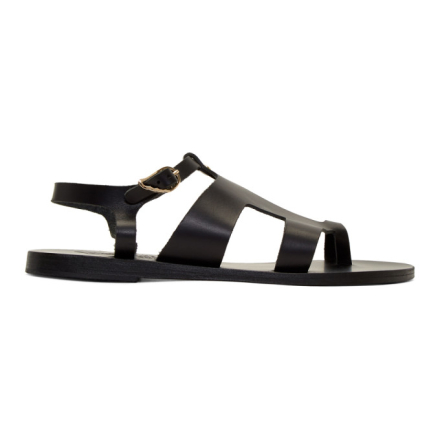 Ancient Greek Sandals Black Leather Thira Sandals