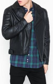 Topman Blk Zip Leather Bkr Jakker Black
