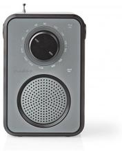 FM-radio | Bordsdesign | AM / FM | Batteridriven / Strömadapter | Analog | 1.8 W | Svart Vit Skärm | Hörlursuttag | Bärhandtag | Grå/Svart