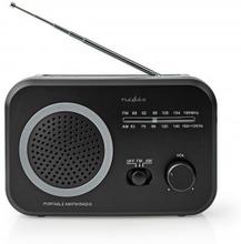 FM-radio | Portabel design | AM / FM | Batteridriven / Strömadapter | Analog | 1.8 W | Svart Vit Skärm | Hörlursuttag | Bärhandtag | Grå/Svart