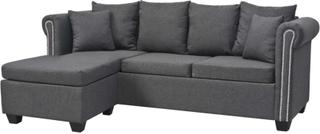 vidaXL Soffa L-formad soffa tyg mörkgrå 200x140x73 cm