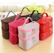 Makeup Storage Bags Multifunctional Storage Package Container Pouch Travel Fashion Double layer Dots Cosmetic Bag