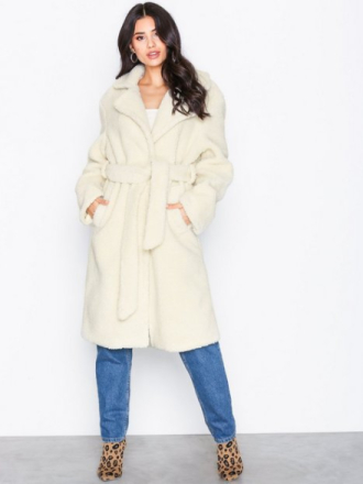 Faux Fur - Offwhite NLY Trend Tie Waist Teddy Coat