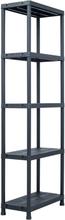 vidaXL Förvaringshylla svart 125 kg 60x30x180 cm plast
