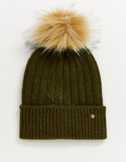 River Island knitted beanie hat with faux fur pom pom in khaki-Green
