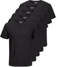 JACK & JONES Ss Tee Enkel Rundringad 5-pack Ka T-shirt Man Svart