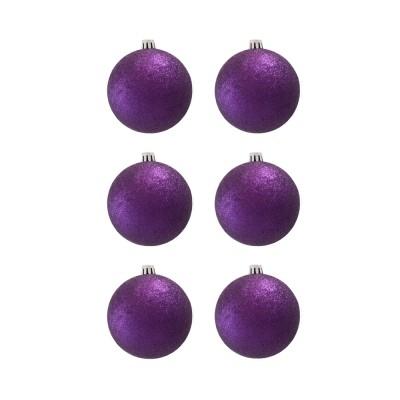 BasicsHome Joulupallo Ornaments Metallinvioletti 8 cm 6 kpl