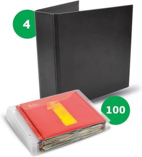 CD paket - 100 Single CD fickor + 4 CD Pärmar för CD förvaring