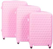 Lyserødt kuffertsæt med hjerter - Sæt med rejsekufferter i 3 størrelser - Eksklusiv hardcase kuffertsæt