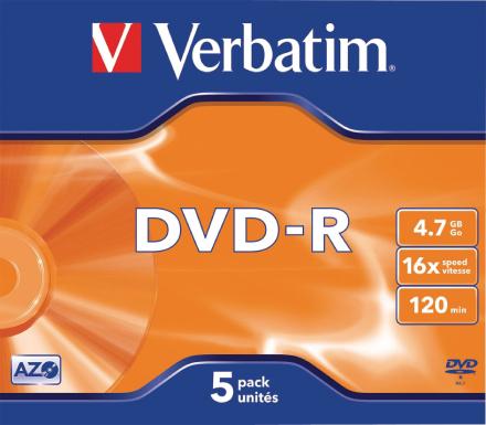 Verbatim 43519 4,7 gb 16 x Dvd-r Jewel Case - Matt Silver (pack af 5)