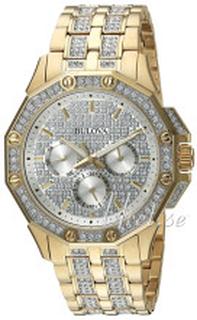Bulova 98C126 Krystallsmykket/Gulltonet stål Ø41.5 mm