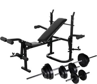 vidaXL vægtbænk med vægtstativ, vægtstang- og håndvægtsæt 30,5 kg