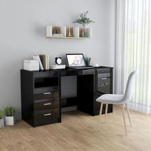vidaXL Skrivebord høyglans svart 140x50x76 cm sponplate