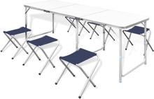 vidaXL Foldbar camping tabellen med 6 stole højdeindstillelige 180 x 60 cm