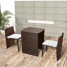 vidaXL Caféset med dynor 3 delar konstrotting brun