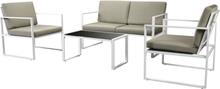 vidaXL Loungegrupp för trädgården med dynor 4 delar stål vit