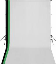 vidaXL studieudstyr 3 fotobaggrunde i bomuld justerbart stel 3 x 5 m