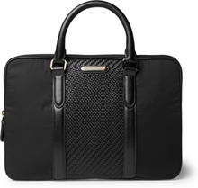 Pelletessuta Leather And Nylon Briefcase - Black