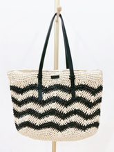 49x43CM Wave Stripe Paper Rope Bag Shoulder Female Summer Straw Bag Beach Bag a6320
