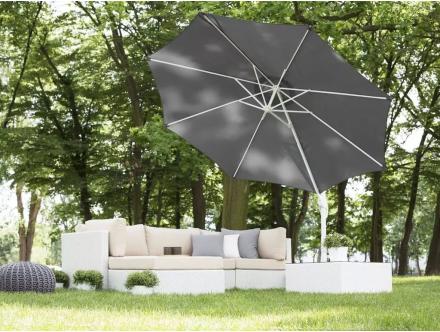 Beliani Parasoll 300 cm mörkgrå med stång i vit SAVONA