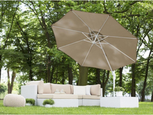 Beliani Parasoll 300 cm sandbeige med stång i vit SAVONA