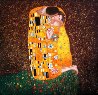 Gustav Klimt, kyssen, 100 x 100 cm, Handmålde oljemålning på duk