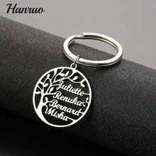 Tree Of Life Custom Name Keychain Personalized Stainless Steel Key Chain Family Tree 18K Gold Key Ring For Women Men Key Jewelry