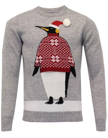 Grå Strikket Pingvin Julegenser til Mann