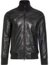J.LINDEBERG Shaken Light Leather Track Jacket Man Svart