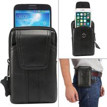 Bältesväska Universal 6.2 tum mobil med plats för kort i äkta läder (Svart)