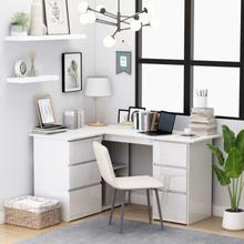 vidaXL Hjørneskrivebord høyglans hvit 145x100x76 cm sponplate
