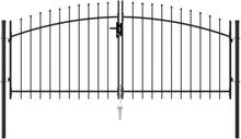 vidaXL Dubbelgrind med spetsig topp stål 3x1,25 m svart