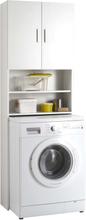 FMD Skåp för tvättmaskin med förvaring vit