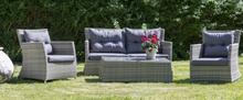 Ballingslöv Lyx utegrupp: soffa, fåtöljer och bord - Ljusgrå konstrotting
