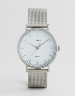 Timex Fairfield 37mm Mesh Watch In Silver - Silver