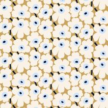 Pieni Unikko kangas beige-luonnonvalkoinen-sininen