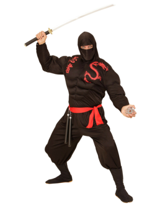 Sort muskuløs ninja kostume voksen - Vegaoo.dk