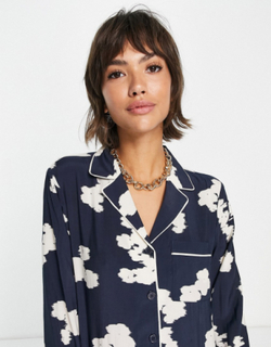 & Other Stories co-ord jacquard long sleeve top in navy print