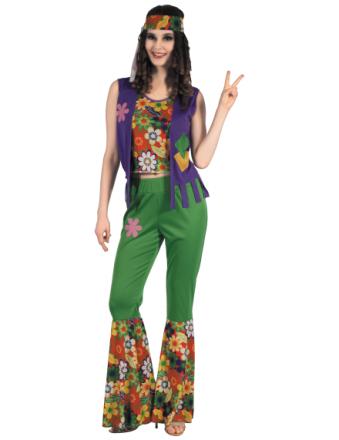 Kostym som hippie flower power dam