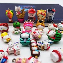 1pcs Kids Gifts Mini Figurine Hello kitty Key chain pendant Decoration Cute Doll Model Toys 2cm