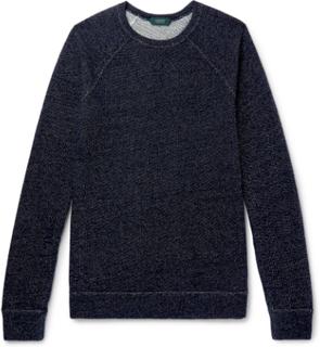 Mélange Loopback Wool-blend Jersey Sweatshirt - Navy