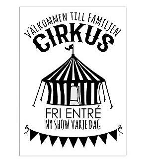 """Poster Välkommen till cirkus (Text: """"Familjen cirkus"""")"""