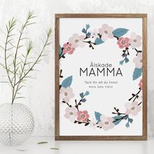 Personlig poster, Mamma med blommor (21x30 cm)