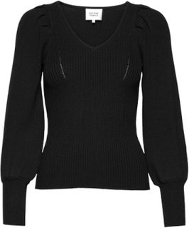 Tine Andrea & Darja X Second Female Bodine Knit V-Neck Strikket Genser Svart Second Female