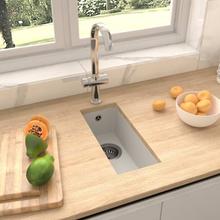 vidaXL køkkenvask med overløbshul granit hvid