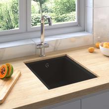 vidaXL køkkenvask med overløbshul granit sort